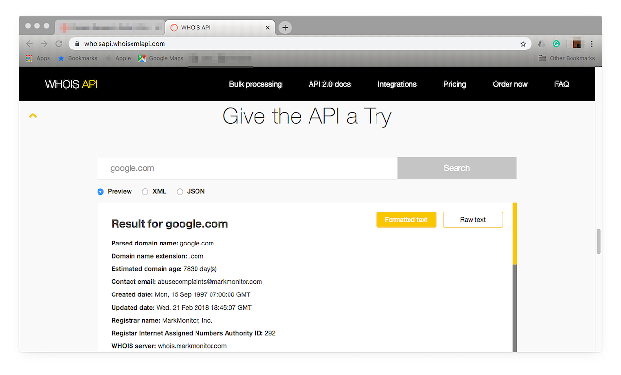 Scroll down until you find the Give the API a Try section.
