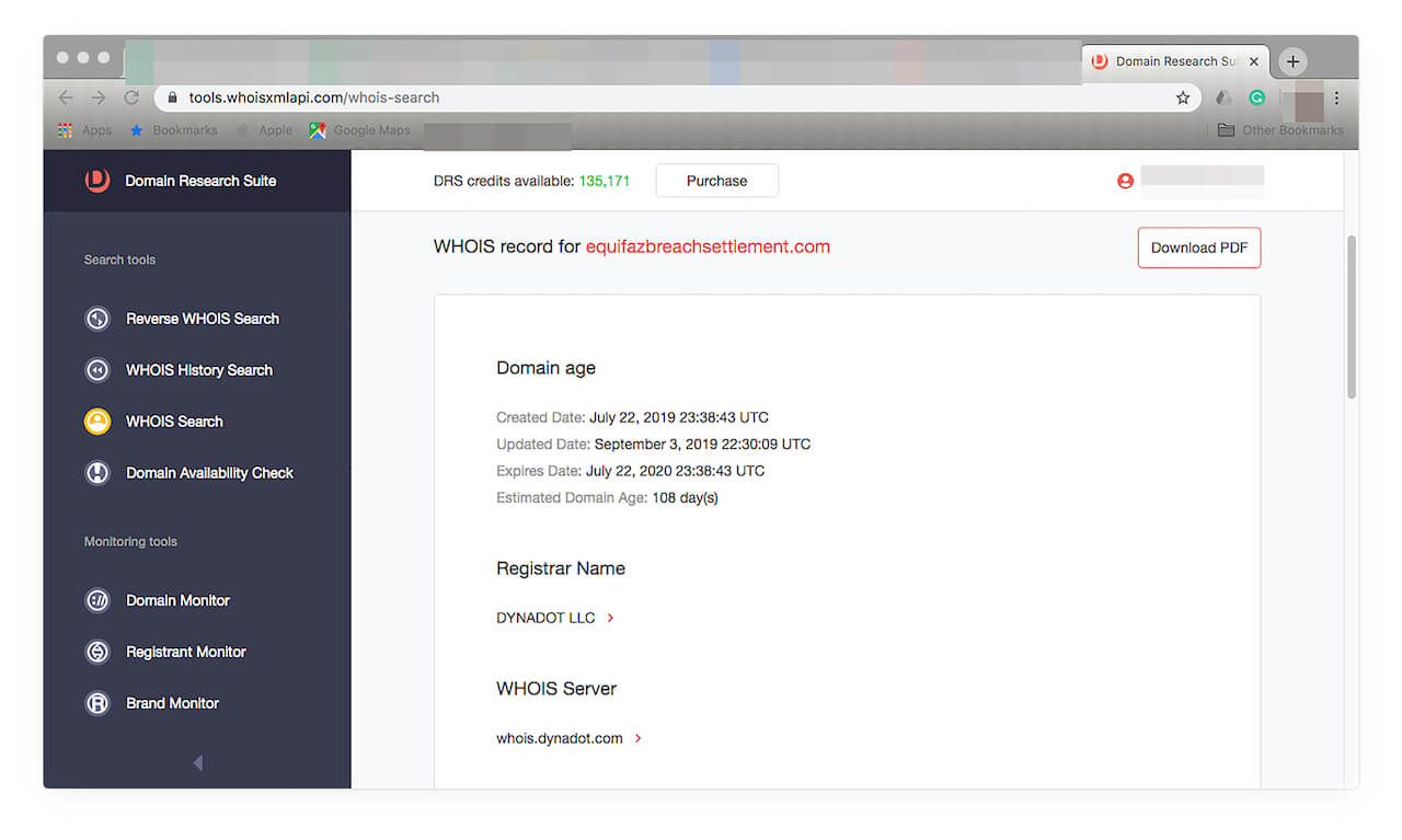 Click WHOIS Search from the DRS menu on the left to do further research.