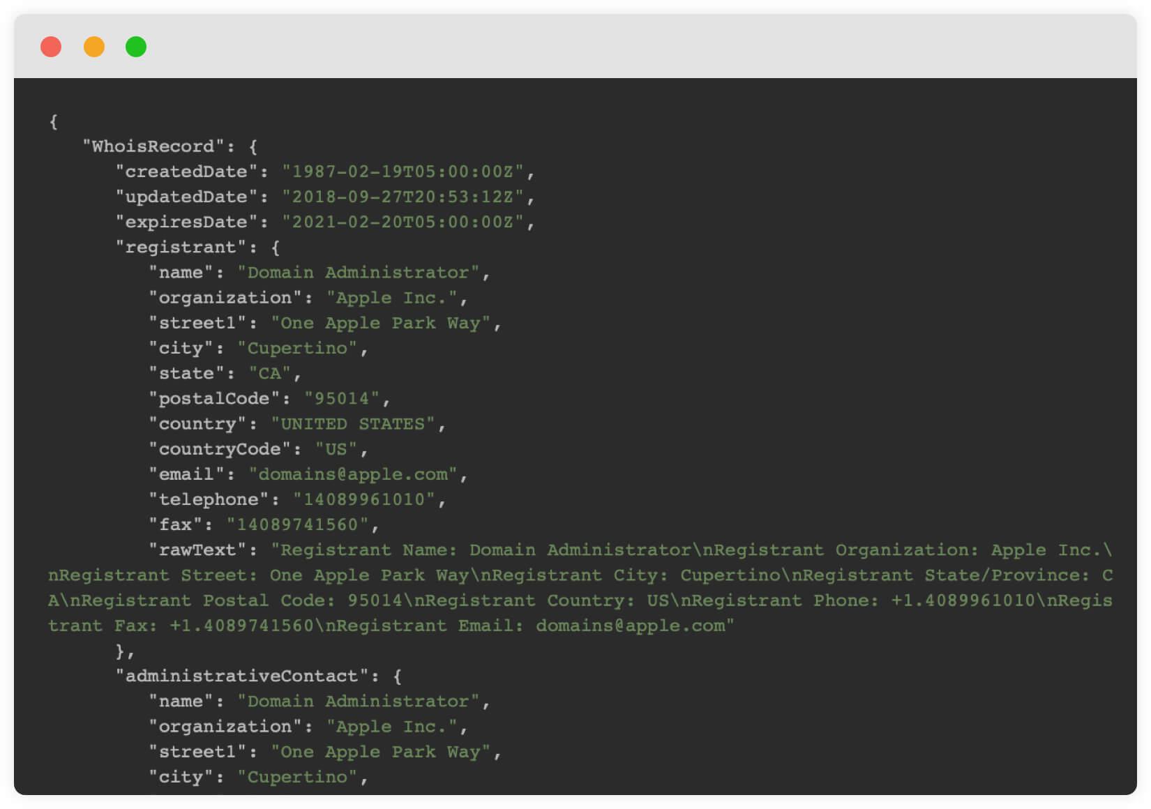 Order WHOIS API