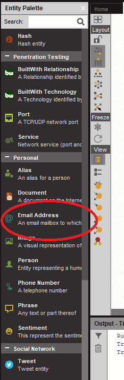 """On Maltego, add an """"Email Address"""" entity from the """"Personal"""" category on the Entity Palette on the left side of your screen."""