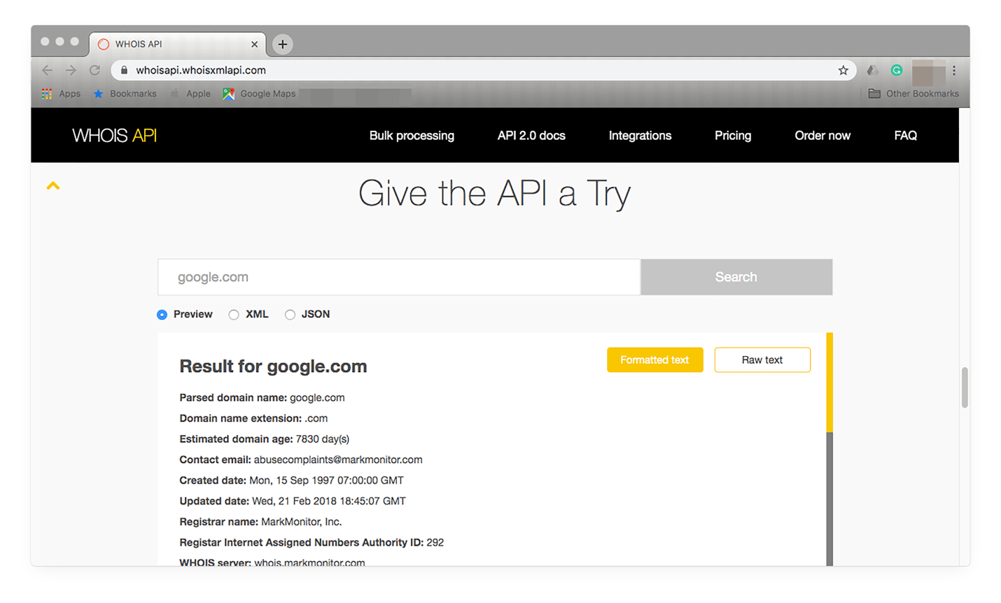 "Visit https://whoisapi.whoisxmlapi.com/ and scroll down until you see ""Give the API a Try"" where you can enter an IP address."