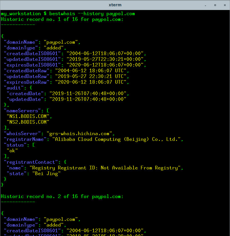 command-line WHOIS tool